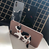 3D Cute Cat As Stand Silicone Soft iPhone Case