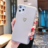 Ladycases - Phone Case Expert - Gold Love Heart Electroplating Soft TPU Phone Case Back Cover for iPhone SE/11/11 Pro/11 Pro Max/XS Max/XR/XS/X/8 Plus/8/7 Plus/7