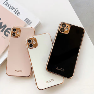 Luxury Gold Plated Electroplated Camera Lens Protector Soft Silicone Phone Case Back Cover for iPhone SE/11 Pro Max/11 Pro/11/XS Max/XR/XS/X/8 Plus/8/7 Plus/7