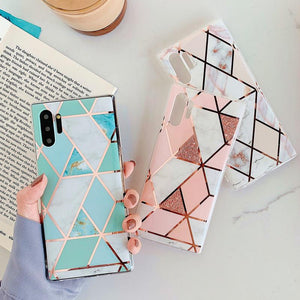 Ladycases - Phone Case Expert - Electroplate Geometric Marble Soft Phone Case Back Cover for Samsung Galaxy S20 Ultra/S20 Plus/S20/S10E/S10 Plus/S10/S9 Plus/S9/Note 10 Pro/Note 10