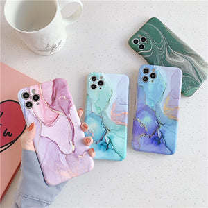 Vintage Marble Fissure Camera Lens Protector Soft Silicone Phone Case Back Cover for iPhone SE/11 Pro Max/11 Pro/11/XS Max/XR/XS/X/8 Plus/8/7 Plus/7