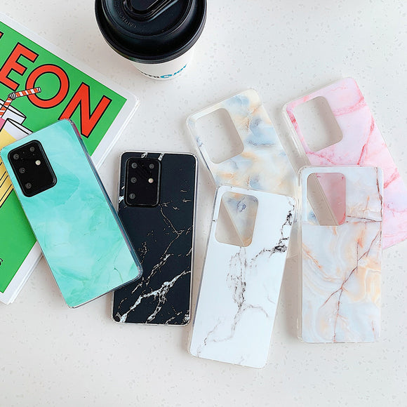 Simple Gradient Marble Fissure Soft Phone Case Back Cover for Samsung Galaxy S20 Ultra/S20 Plus/S20/S10E/S10 Plus/S10/S9 Plus/S9/S8 Plus/S8/Note 20 Ultra/Note 20/Note 10 Plus/Note 10
