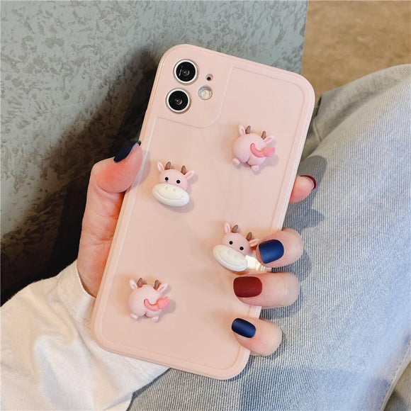 Cute Cartoon Cow Silicone Soft Phone Case Back Cover for iPhone 12 Pro Max/12 Pro/12/12 Mini/SE/11 Pro Max/11 Pro/11/XS Max/XR/XS/X/8 Plus/8/7 Plus/7