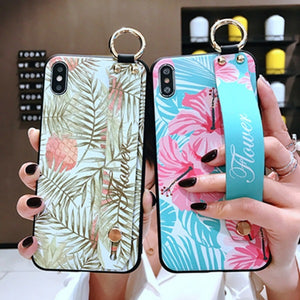 Ladycases - Phone Case Expert - 3D Relief Retro Painting Wrist Strap Support Phone Case Back Cover for Samsung Galaxy S20 Ultra/S20 Plus/S20/S10E/S10 Plus/S10/S9 Plus/S9/S8 Plus/S8/Note 10 Pro/Note 10/Note 9/Note 8