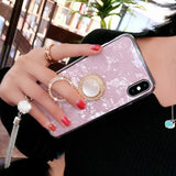 Ladycases - Phone Case Expert - Luxury Pearl Ring Holder Tassel Shell Phone Case Back Cover for iPhone 11 Pro Max/11 Pro/11/XS Max/XR/XS/X/8 Plus/8/7 Plus/7