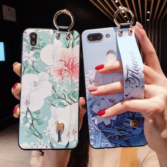 Retro Relief Flower Wrist Strap Soft Silicone Phone Case Back Cover for Samsung Galaxy S20 Ultra/S20 Plus/S20/S10E/S10 Plus/S10/S9 Plus/S9/S8 Plus/S8/Note 10 Pro/Note 10/Note 9/Note 8