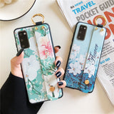 Relief Lily Flower Wrist Strap Stand Holder Soft Phone Case Back Cover for Samsung Galaxy S20 Ultra/S20 Plus/S20/S10E/S10 Plus/S10/S9 Plus/S9/S8 Plus/S8/Note 20 Ultra/Note 20/Note 10 Plus/Note 10