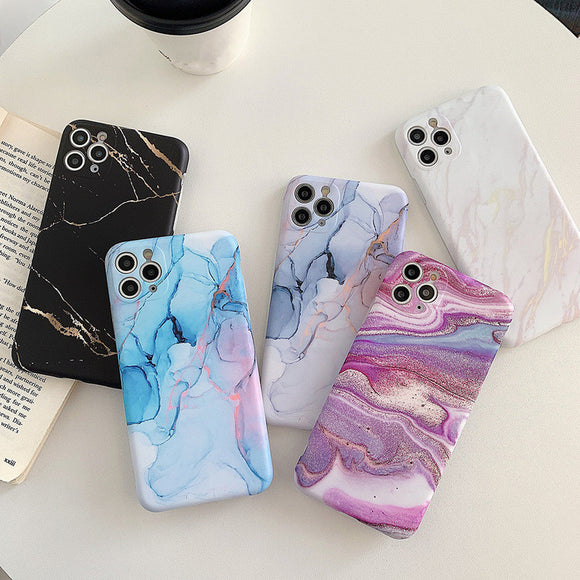 Retro Marble Texture Camera Protector Soft Phone Case Back Cover for iPhone 12 Pro Max/12 Pro/12/12 Mini/SE/11 Pro Max/11 Pro/11/XS Max/XR/XS/X/8 Plus/8/7 Plus/7