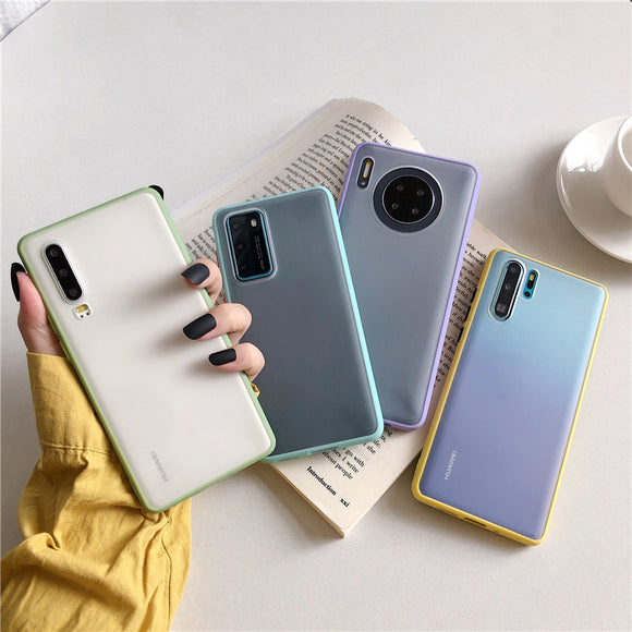 Contrast Color Matte Acrylic Phone Case Back Cover for Huawei Mate 40 Pro/Mate 40/Mate 30 Pro/Mate 30/P40 Pro/P40/P30 Pro/P30
