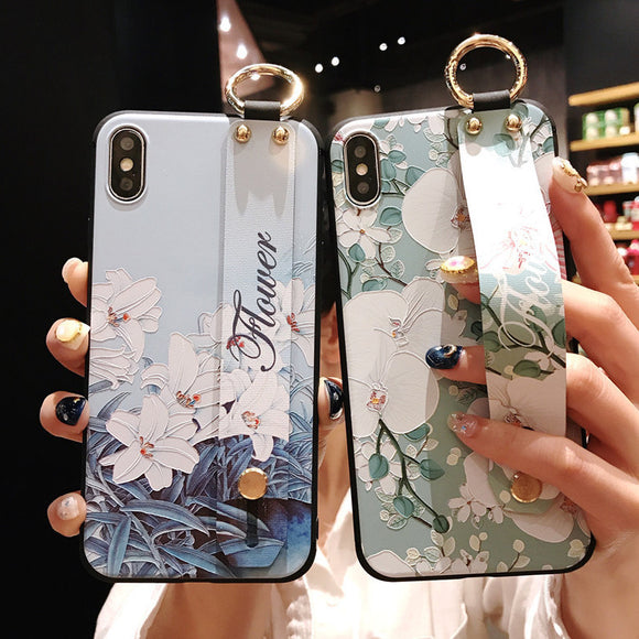 Retro Flower Wrist Strap Soft Phone Case Back Cover for Samsung Galaxy S20 Ultra/S20 Plus/S20/S10E/S10 Plus/S10/S9 Plus/S9/S8 Plus/S8/Note 20 Ultra/Note 20/Note 10 Plus/Note 10