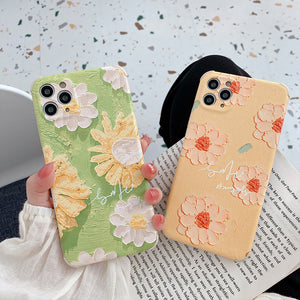 Retro Oil Painting Flowers Soft iPhone Case