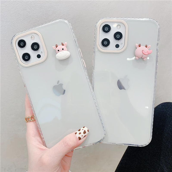 Cute 3D Cow Silicone Soft Phone Case Back Cover for iPhone 12 Pro Max/12 Pro/12/12 Mini/SE/11 Pro Max/11 Pro/11/XS Max/XR/XS/X/8 Plus/8/7 Plus/7