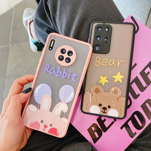 Cartoon Animal Matte Acrylic Phone Case Back Cover for Huawei Mate 40 Pro/Mate 40/Mate 30 Pro/Mate 30/P40 Pro/P40/P30 Pro/P30