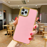 Fluorescent Color Plating Edge Soft Phone Case Back Cover for iPhone 12 Pro Max/12 Pro/12/12 Mini/SE/11 Pro Max/11 Pro/11/XS Max/XR/XS/X/8 Plus/8/7 Plus/7