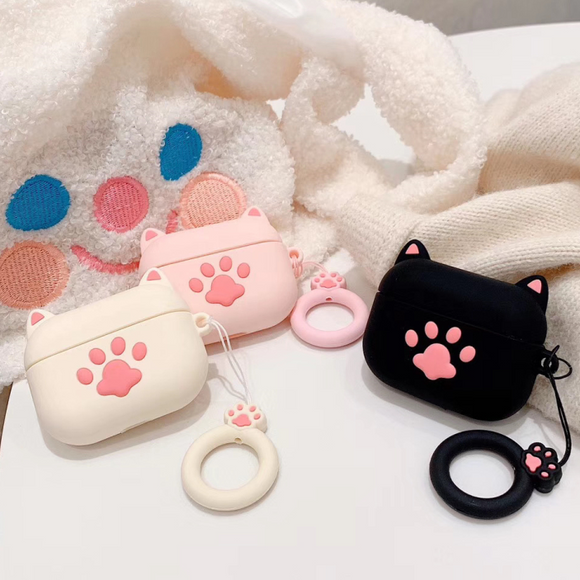 Cute Pink Cat Paw AirPods Case