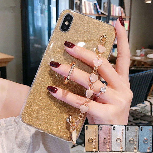 Ladycases - Phone Case Expert - Luxury Glitter Ring Holder Wrist Chain Strap Soft Phone Case Back Cover for iPhone 11/11 Pro/11 Pro Max/XS Max/XR/XS/X/8 Plus/8/7 Plus/7
