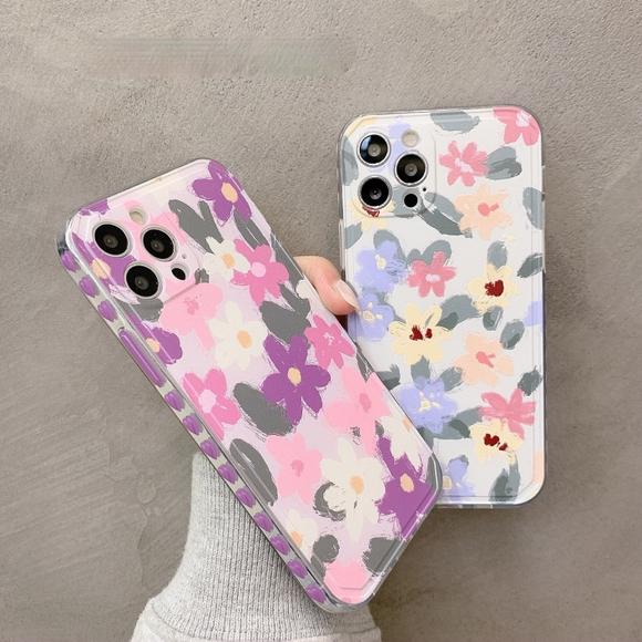 Side Love Oil Painting Flowers Silicone Clear Soft iPhone Case