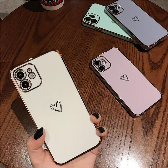 Luxury Electroplating Love Silicone Soft Phone Case Back Cover for iPhone 12 Pro Max/12 Pro/12/12 Mini/SE/11 Pro Max/11 Pro/11/XS Max/XR/XS/X/8 Plus/8/7 Plus/7