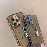 Side Pattern Cute Astronaut Silicone Soft iPhone Case