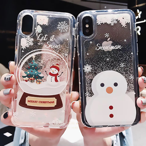 Glitter Christmas Snowman Dynamic Liquid Soft Phone Case Back Cover for iPhone SE/11 Pro Max/11 Pro/11/XS Max/XR/XS/X/8 Plus/8/7 Plus/7