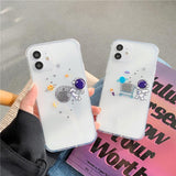 Creative Cartoon Astronaut Clear Soft Phone Case Back Cover for iPhone 12 Pro Max/12 Pro/12/12 Mini/SE/11 Pro Max/11 Pro/11/XS Max/XR/XS/X/8 Plus/8/7 Plus/7