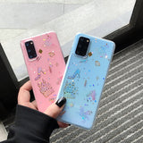 Cartoon Glitter Castle Transparent Soft Silicone Phone Case Back Cover for Samsung Galaxy S20 Ultra/S20 Plus/S20/S10E/S10 Plus/S10/S9 Plus/S9/S8 Plus/S8/Note 10 Pro/Note 10