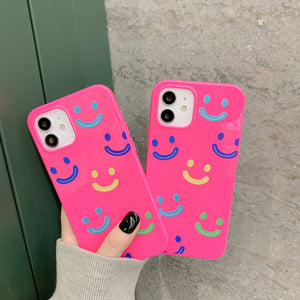 Fashion Fluorescent Smiley Silicone Soft iPhone Case