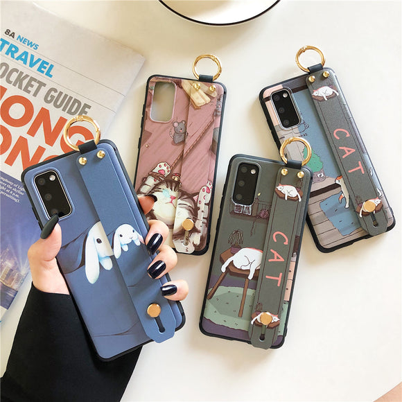 Relief Cute Animals Wrist Strap Stand Holder Soft Phone Case Back Cover for Samsung Galaxy S20 Ultra/S20 Plus/S20/S10E/S10 Plus/S10/S9 Plus/S9/S8 Plus/S8/Note 20 Ultra/Note 20/Note 10 Plus/Note 10