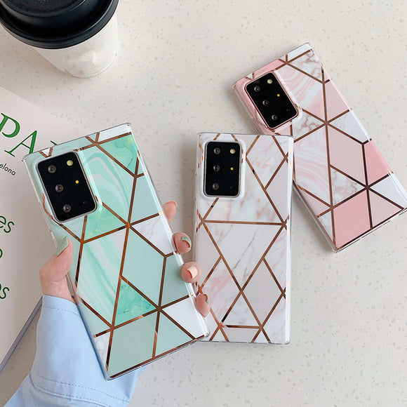 Plating Geometric Gradient Marble Soft Phone Case Back Cover for Samsung Galaxy S20 Ultra/S20 Plus/S20/S10E/S10 Plus/S10/S9 Plus/S9/S8 Plus/S8/Note 20 Ultra/Note 20/Note 10 Plus/Note 10