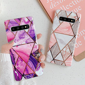 Ladycases - Phone Case Expert - Artistic Geometric Marble Texture Electroplated Phone Case Back Cover for Samsung Galaxy S20 Ultra/S20 Plus/S20/S10E/S10 Plus/S10/S9 Plus/S9/S8 Plus/S8/Note 10/Note 10 Pro