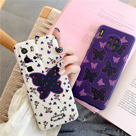 Retro Butterfly Soft Phone Case Back Cover for Huawei Mate 40 Pro/Mate 40/Mate 30 Pro/Mate 30/P40 Pro/P40/P30 Pro/P30