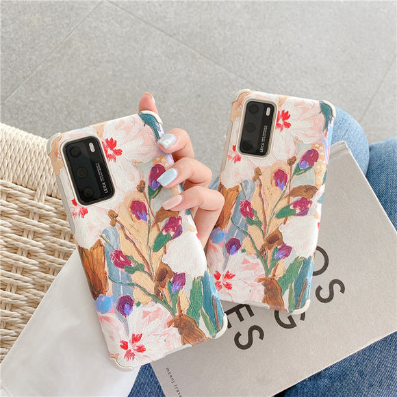 Retro Abstract Painting Soft Phone Case Back Cover for Huawei Mate 40 Pro/Mate 40/Mate 30 Pro/Mate 30/P40 Pro/P40/P30 Pro/P30