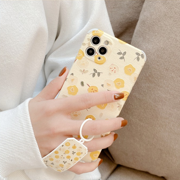 Yellow Flowers Ring Soft Phone Case Back Cover for iPhone 12 Pro Max/12 Pro/12/12 Mini/SE/11 Pro Max/11 Pro/11/XS Max/XR/XS/X/8 Plus/8/7 Plus/7