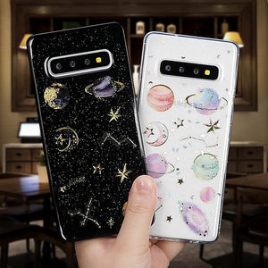 Ladycases - Phone Case Expert - Glitter Planet Star Transparent TPU Phone Case Back Cover for Samsung Galaxy S20 Ultra/S20 Plus/S20/S10E/S10 Plus/S10/S9 Plus/S9/S8 Plus/S8/Note 10 Pro/Note 10/Note 9/Note 8