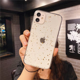 Luxury Epoxy Gold Foil Couple Anti-fall Silicone Clear Soft iPhone Case