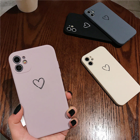Square Candy Color Love Heart Soft Phone Case Back Cover for iPhone 12 Pro Max/12 Pro/12/12 Mini/SE/11 Pro Max/11 Pro/11/XS Max/XR/XS/X/8 Plus/8/7 Plus/7
