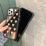 Luxury Mirror Love Heart Phone Case Back Cover for iPhone 12 Pro Max/12 Pro/12/12 Mini/SE/11 Pro Max/11 Pro/11/XS Max/XR/XS/X/8 Plus/8/7 Plus/7