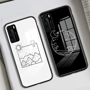 Simple Moon Sun Tempered Glass Phone Case Back Cover for Huawei Mate 40 Pro/Mate 40/Mate 30 Pro/Mate 30/P40 Pro/P40/P30 Pro/P30