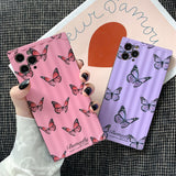 Square Butterfly Camera Lens Protector Soft Silicone Phone Case Back Cover for iPhone 12 Pro Max/12 Pro/12/12 Mini/SE/11 Pro Max/11 Pro/11/XS Max/XR/XS/X/8 Plus/8/7 Plus/7