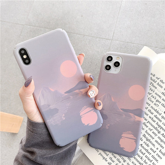 Ladycases - Phone Case Expert - Art Moon Painting Hard Phone Case Back Cover for iPhone SE/11 Pro Max/11 Pro/11/XS Max/XR/XS/X/8 Plus/8/7 Plus/7