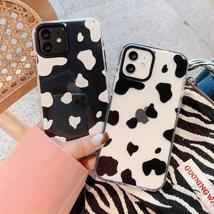 Fashion Cow Pattern Clear Soft Phone Case Back Cover for iPhone 12 Pro Max/12 Pro/12/12 Mini/SE/11 Pro Max/11 Pro/11/XS Max/XR/XS/X/8 Plus/8/7 Plus/7
