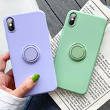 Ladycases - Phone Case Expert - Candy Color Metal Ring Holder Phone Case Back Cover for iPhone SE/11 Pro Max/11 Pro/11/XS Max/XR/XS/X/8 Plus/8/7 Plus/7/6s Plus/6s/6 Plus/6