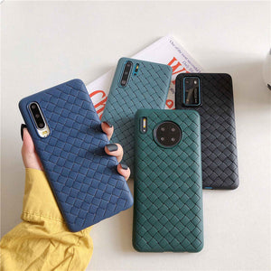 Solid Color Grid Soft Phone Case Back Cover for Huawei Mate 40 Pro/Mate 40/Mate 30 Pro/Mate 30/P40 Pro/P40/P30 Pro/P30