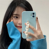 Light Blue Milk White Chain Silicone Soft Phone Case Back Cover for iPhone 12 Pro Max/12 Pro/12/12 Mini/SE/11 Pro Max/11 Pro/11/XS Max/XR/XS/X/8 Plus/8/7 Plus/7