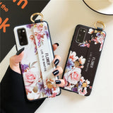 Relief Rose Flower Wrist Strap Stand Holder Soft Phone Case Back Cover for Samsung Galaxy S20 Ultra/S20 Plus/S20/S10E/S10 Plus/S10/S9 Plus/S9/S8 Plus/S8/Note 20 Ultra/Note 20/Note 10 Plus/Note 10