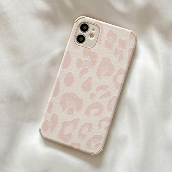 Pink Leopard Silicone Soft Phone Case Back Cover for iPhone 12 Pro Max/12 Pro/12/12 Mini/SE/11 Pro Max/11 Pro/11/XS Max/XR/XS/X/8 Plus/8/7 Plus/7