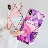 Ladycases - Phone Case Expert - Colorful Geometric Marble Soft IMD Electroplated Phone Case Back Cover for iPhone SE/11 Pro Max/11 Pro/11/XS Max/XR/XS/X/8 Plus/8/7 Plus/7/6s Plus/6s/6 Plus/6