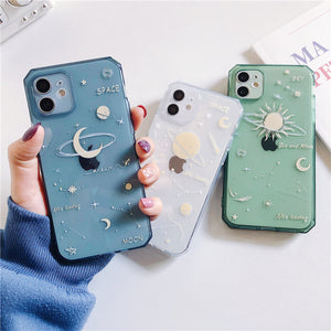 Space Planet Side Transparent Soft iPhone Case