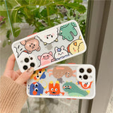 Cute Cartoon Couple Little Monsters Transparent Silicone Soft Phone Case Back Cover for iPhone 12 Pro Max/12 Pro/12/12 Mini/SE/11 Pro Max/11 Pro/11/XS Max/XR/XS/X/8 Plus/8/7 Plus/7