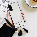 Simple Love Heart Lanyard Soft Phone Case Back Cover for Samsung Galaxy S20 Ultra/S20 Plus/S20/S10E/S10 Plus/S10/S9 Plus/S9/S8 Plus/S8/Note 20 Ultra/Note 20/Note 10 Plus/Note 10